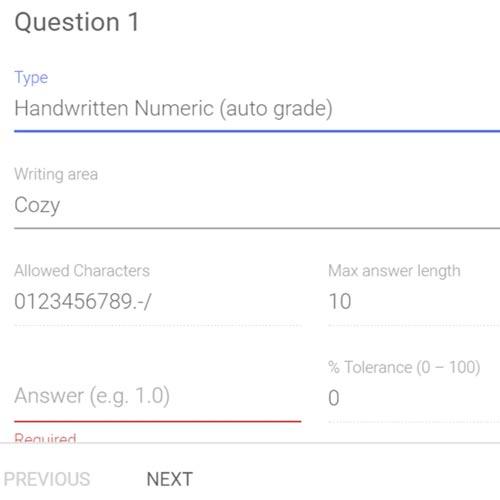 gradecam aita handwritten numeric