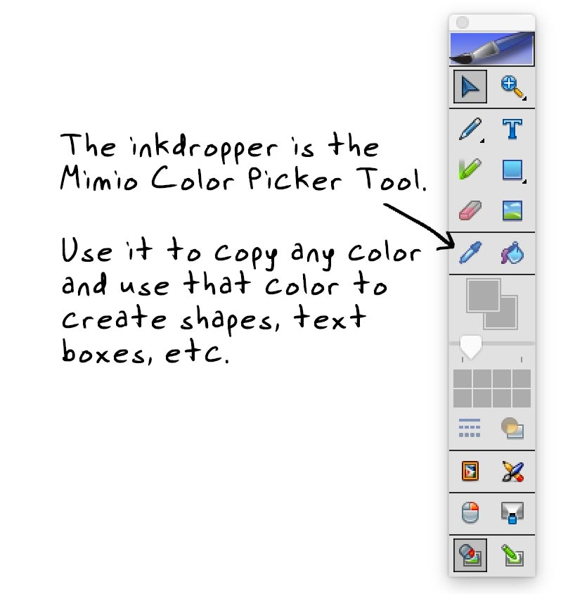 Mimio Color Picker Tool in the Mimio Toolbar