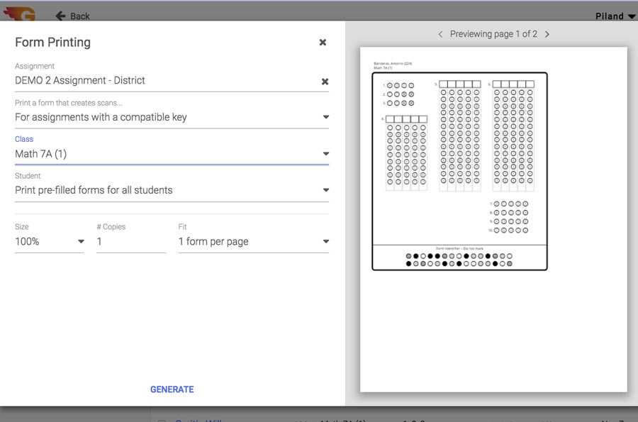 GradeCam Form Printing